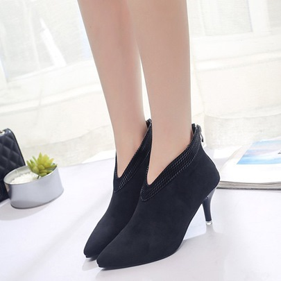Suede Pointed Toe High Heel Patchwork Zipper Women's Black Ankle Boots