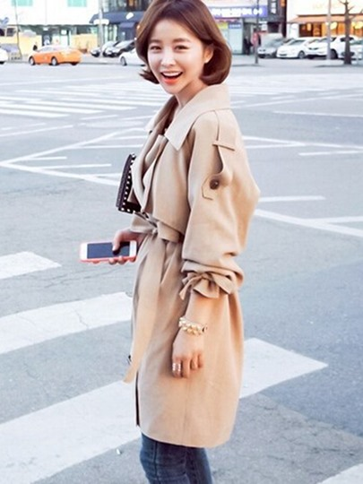 Lapel Long Loose with Belt Asymmetric Women's Trench Coat