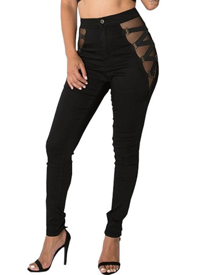 Skinny Perspective Patchwork Zipper Women's Jeans