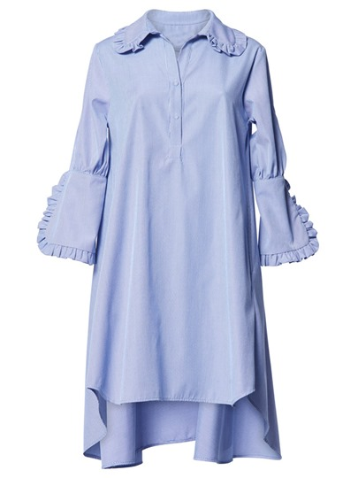 Falbala Lapel Plain Women's Long Sleeve Dress