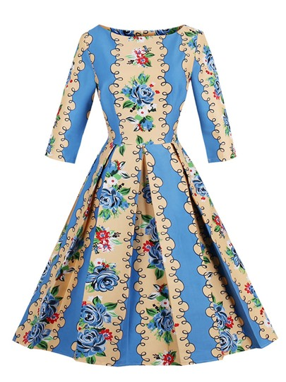 Blue Ruffled Printing Women's Day Dress