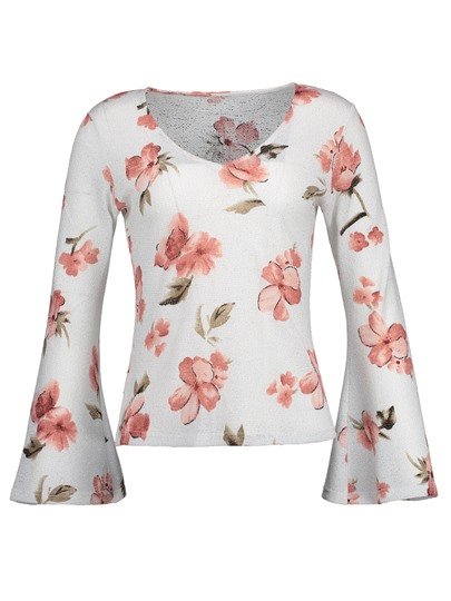 V-Neck Floral Flare Sleeve Slim Vacation Women's T-Shirt
