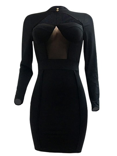 See-Through Patchwork Women's Bodycon Dress