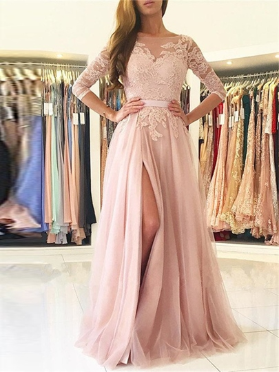 3/4 Length Sleeves A-Line Bateau Appliques Sashes Split-Front Evening Dress