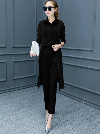 Plain Slim Straight Women's Pants and Cape Suit