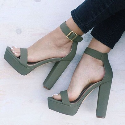 Flocking Open Toe Chunky Heel Green Sandals