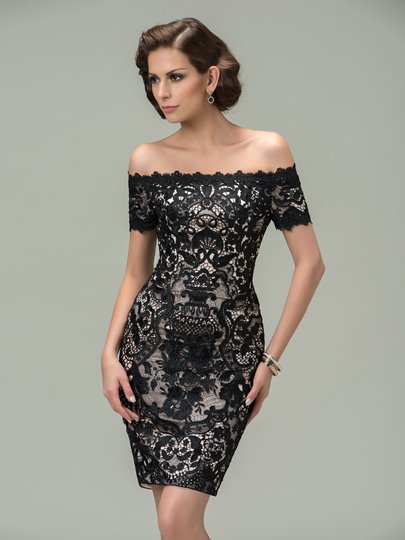 Sheath Off-the-Shoulder Lace Short Cocktail Dress