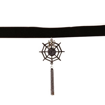 Halloween Series Gothic Spider Web Tassel Diamante Choker Necklace
