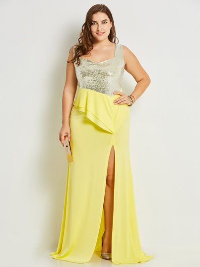 Plus Size Sequins Split Women's Maxi Dress