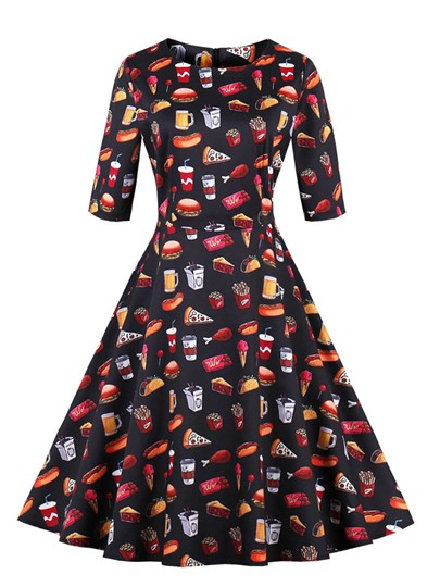 Black Half Sleeve Printing Women's Day Dress