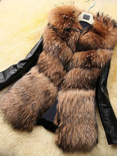 artificial fur warm thick womens winter overcoat