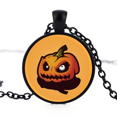 Demon Yellow Pumpkin Alloy Time Artificial Gem Halloween Necklace