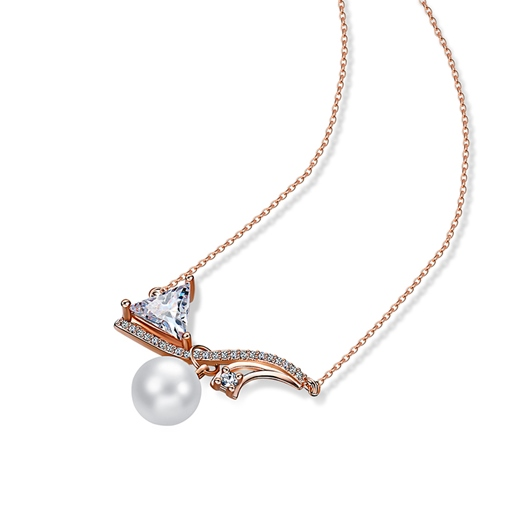 Pearl Zircon Inlaid Geometric Shiny Rose Gold Necklace
