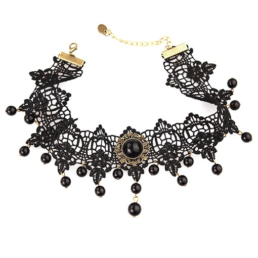 Black Lace Hollow Out Rhinestone Vintage Torques Choker Halloween Necklace