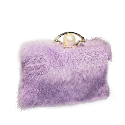 Pearl Decoration Solid Color Plush Clutch