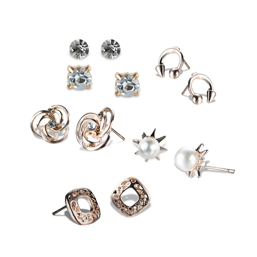 Openings Pearl Zircon Inlaid Hollow Out Earrings&Rings Jewelry Sets