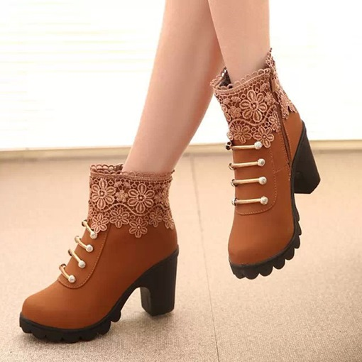 Lace Platform Sequin Side Zipper Women's Ankle Boots