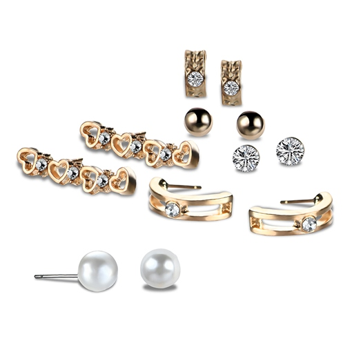 Diamante Pearl Zircon Hollow Out Earrings&Rings Jewelry Sets