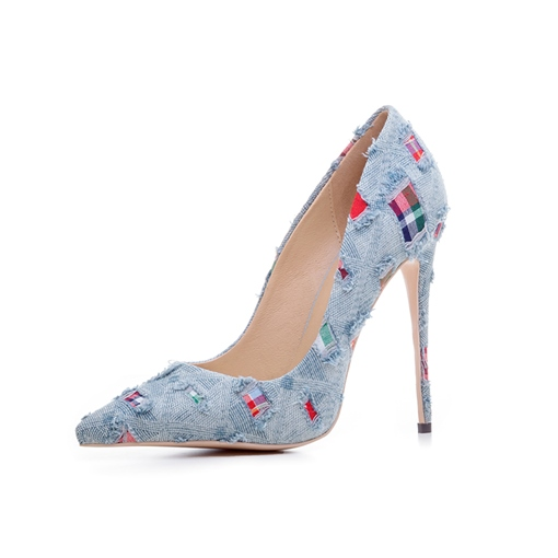 Worn Denim Color Block Dress Shoes Women's High Heels