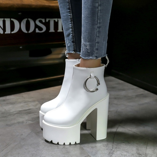 Circle Zipper Chunky Heel Women's Plain Platform Ankle Boots