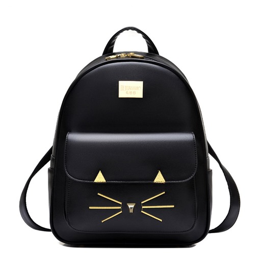 Preppy Chic Kitty Pattern Solid Color Backpack