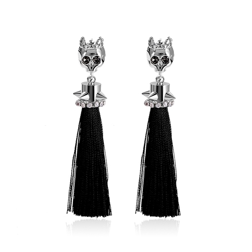 Diamante Skull Rivet Individual Long Drop Tassel Earrings
