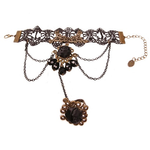 Alloy Lace Hollow Out Rhinestone Black Halloween Hats