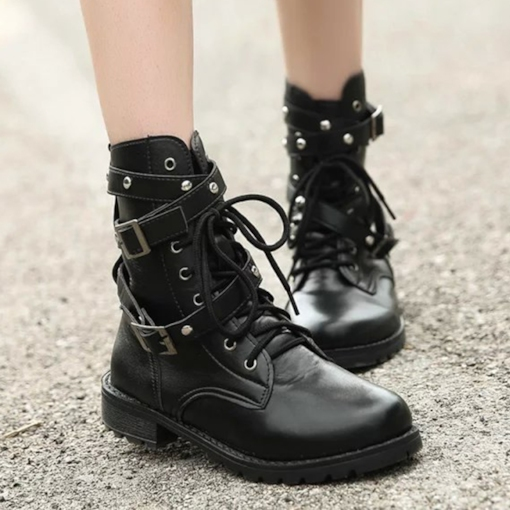 Mid-Calf Round Toe Cross Strap Women's Boots