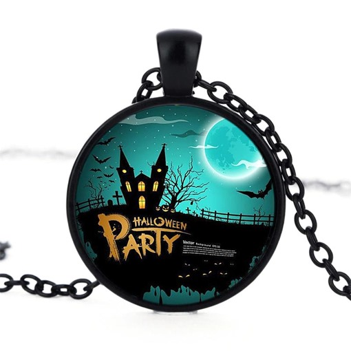 Halloween Series Castle Moonlight Night Bat Pendant Necklace