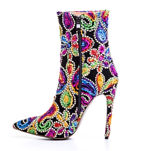 Cloth Appliques Color Block Women's Fancy Boots