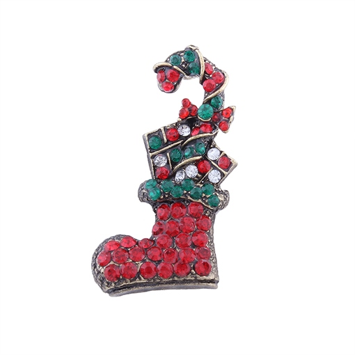 Alloy Rhinestone Shoe Design Color Blocking Christmas Women's Brooches