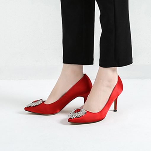 Silk Fabric Dress Shoes Slip-On Rhinestone Women's Pumps