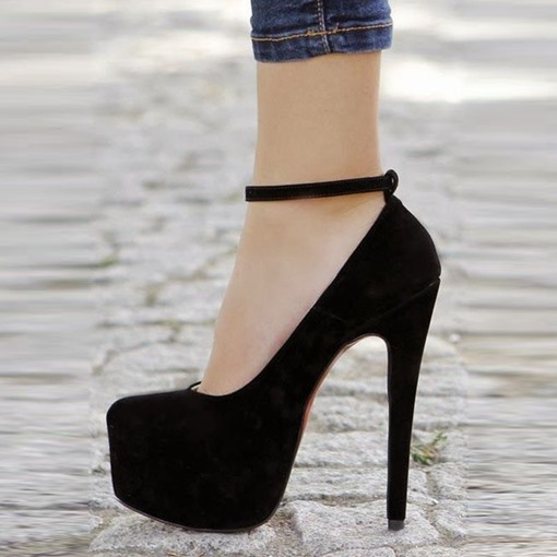 Black Pumps Line-Style Buckle Platform Suede High Heels for Women