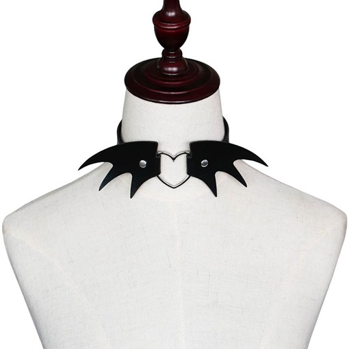 Halloween Series Punk Imp Devil Wing PU Torques Choker Necklace
