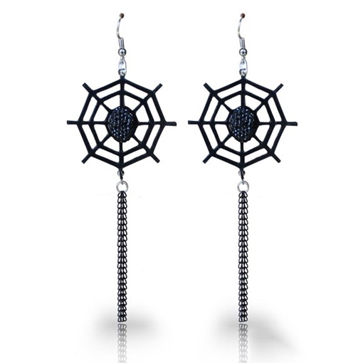 Spider Web Hollow Out Artificial Halloween Earrings