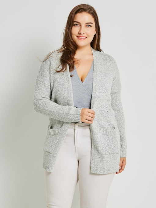 Pocket Plus Size Mid-Length Women's Cardigan