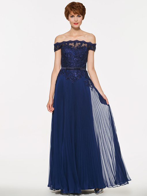 Off The Shoulder Appliques Pleats Mother Of The Bride Dress