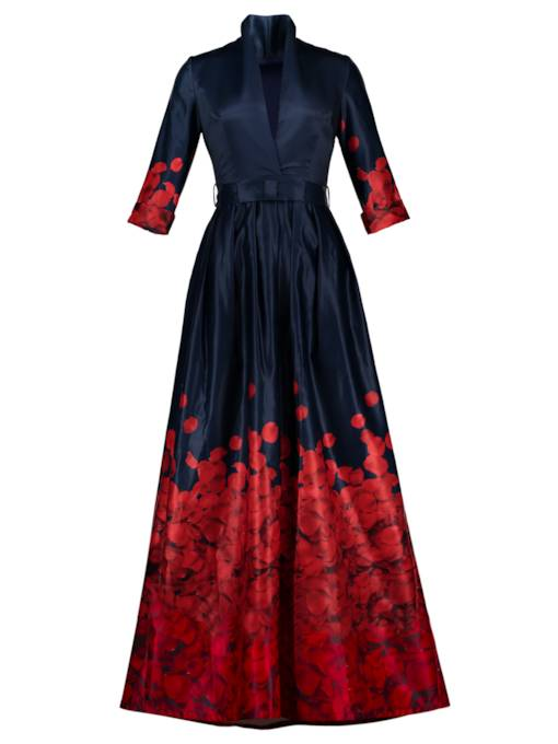 Dark Blue Petals Printed Women's Vacation Maxi Dress
