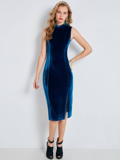 Stand Collar Sleeveless Women's Bodycon Dress