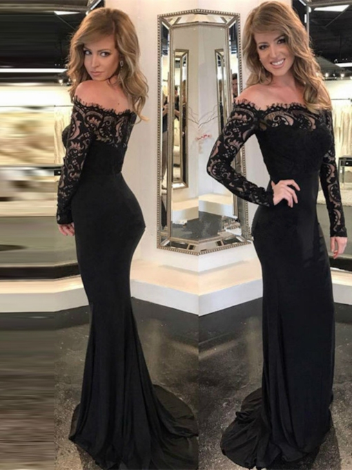 Mermaid Off-the-Shoulder Lace Long Sleeves Court Train Evening Dress