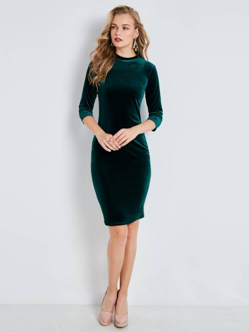 Stand Collar Plain Women's Bodycon Dress