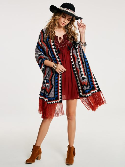 Geometric Print Color Block Tassel Women's Cape