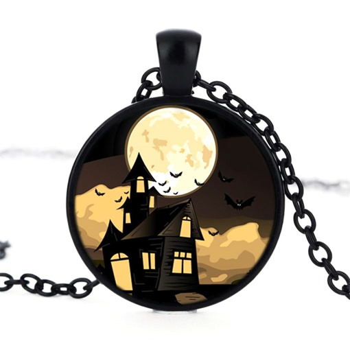 Time Artificial gem Alloy Bat Moon House Halloween Necklace