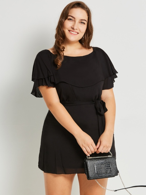 Plus Size Falbala Plain Off Shoulder Ruffle Sleeve Women's Day Dress
