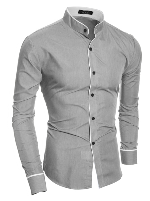Stand Collar Single-Breasted Plain Casual Slim Fit Men's Shirt