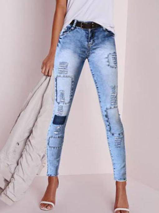 Hole Button Zipper Denim Women's Jeans