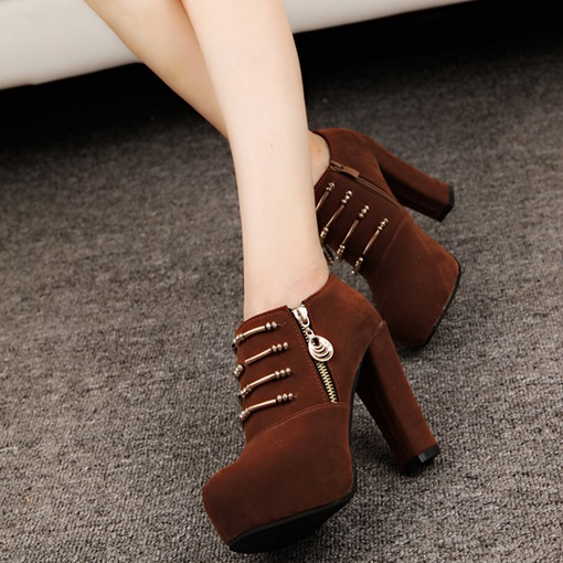 Chain Chunky Heel Side Zipper Plain Ankle Boots for Women