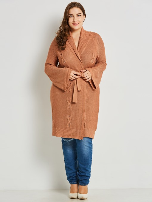 Plus Size Lace-Up Shawl Collar Women's Cardigan