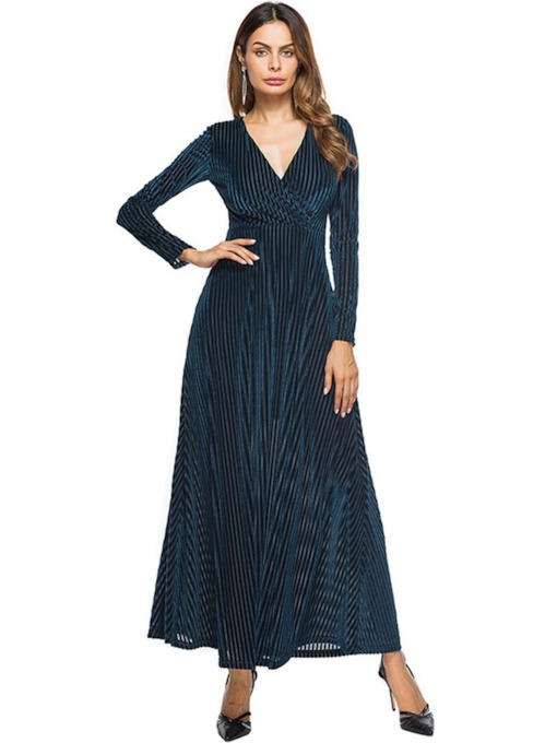 Long Sleeve Striped Velvet Women's Maxi Dress
