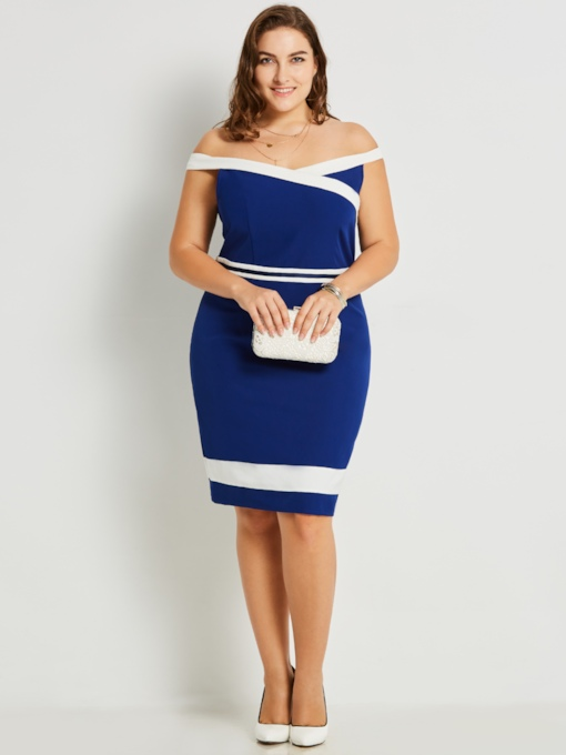 Plus Size Blue Invisible Zipper Plus Size Women's Bodycon Dress